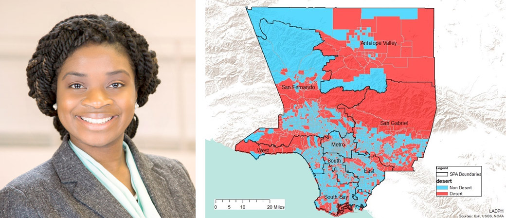 Left: Cheryl Wisseh; Right: Map identifying pharmacy deserts in Los Angeles County